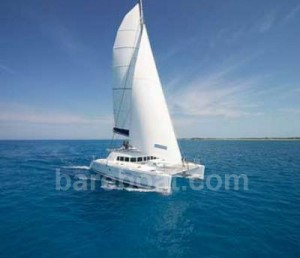 Bareboat catamaran underway
