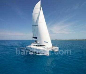 Lagoon bareboat catamaran underway